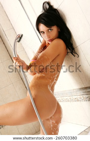 Mixed race girl naked in shower, nude dominican teen