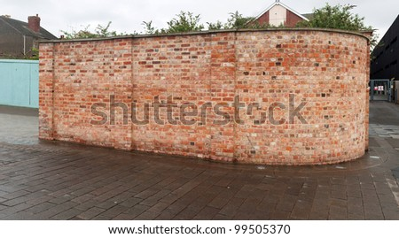 gorgeous panoramic picture of a red brick wall at a urban street in the United Kingdom (plenty copy-space for any design)