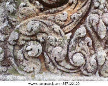 Gorgeous pattern of the medieval carved stone wall in Prasat Hin Muang Tam shrine, Buriram, Thailand