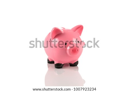 Gorgeous pink piggy bank, isolated on a white with soft shadow
