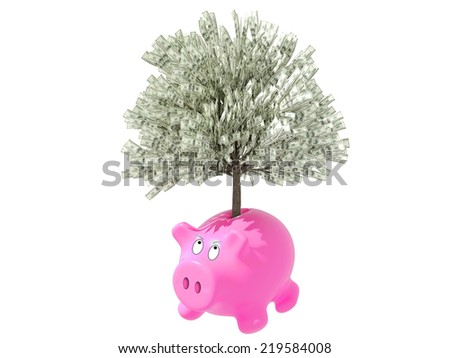Gorgeous pink piggy bank, isolated on white background - stock photo