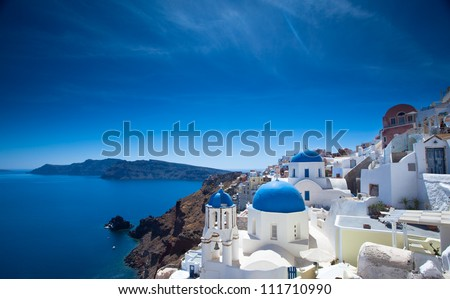Gorgeous Santorini scene in the late afternoon - stock photo