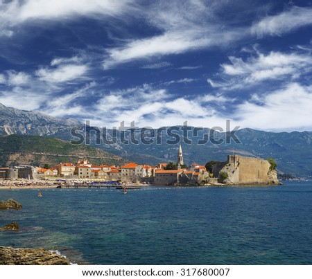 Gorgeous scenic view on the Old Town in Budva, Montenegro