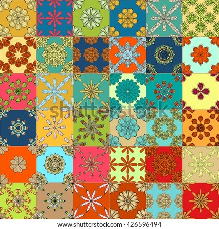 Gorgeous seamless pattern white colorful Moroccan, Portuguese tiles, Azulejo, ornaments. Can be used for wallpaper, pattern fills, web page background, surface textures.