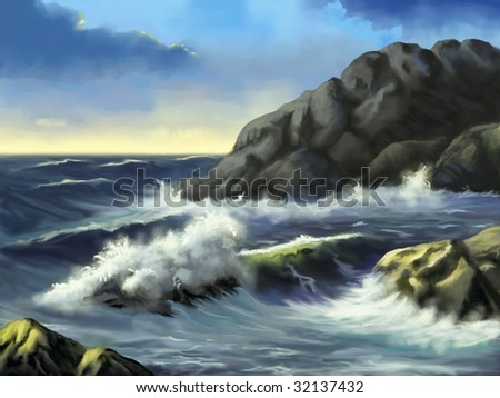 Gorgeous seascape at sunset. Original digital illustration. - stock photo