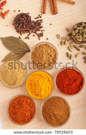 gorgeous setting with cooking spices and herbs (bay leaves, cumin, coriander, chili powder, cloves, cardamom pods, cinnamon sticks, paprika, piri piri, turmeric) on a wooden mat - stock photo