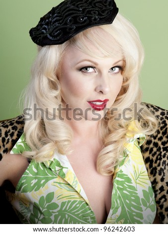Gorgeous sexy blonde pin up model posing - stock photo