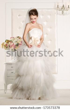 Gorgeous shiny bride - stock photo