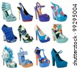gorgeous shoes collection isolated on white - stock photo