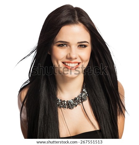 Gorgeous, smiling white caucasian female model isolated on white background, wearing a necklace.