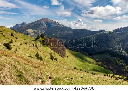 Gorgeous spring mountain landscape with blue sky and clouds - Little Fatra hills, Slovakia, Europe - stock photo
