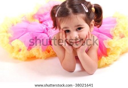 gorgeous toddler girl in a pretty skirt - stock photo