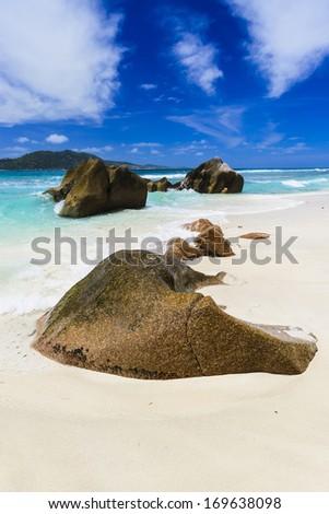 Gorgeous tropical beach on a sunny day.  - stock photo