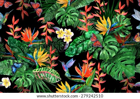 Gorgeous tropical plants seamless pattern on a black background. Exotic flowers, frangipani, plumeria, magnolia, monstera, banana leaves, palm leaf, flying butterflies, birds. Watercolor painting - stock photo