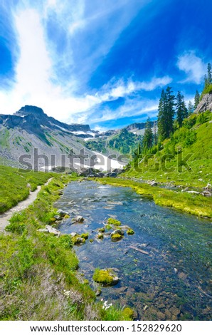Gorgeous view at the valley with creek of Bagley lakes system in Mount Baker lands. North America. - stock photo