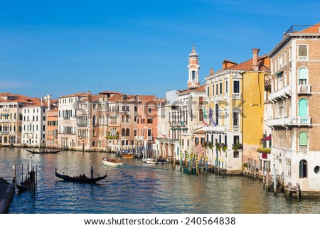 Gorgeous view of the Grand Canal from famous Rialto bridge. Venice, Italy.  - stock photo
