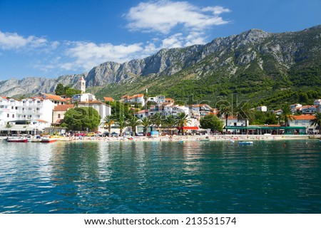 Gorgeous view on beach and mountains behind in Gradac, Croatia - stock photo