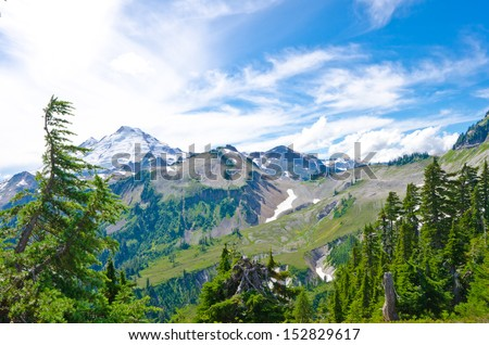 Gorgeous view, outlook at the valley at Mount Baker lands and wilderness. North America.