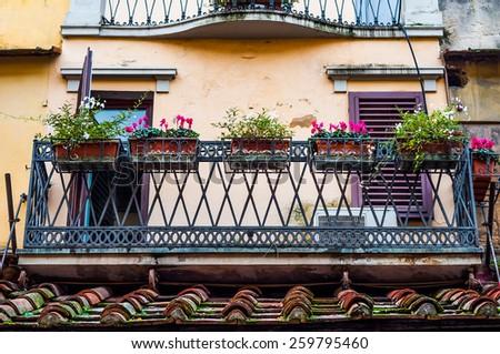 gorgeous window balcony at Ponte Vecchio in Florence, Italy. - stock photo