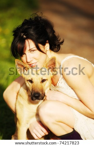 gorgeous woman and her dog