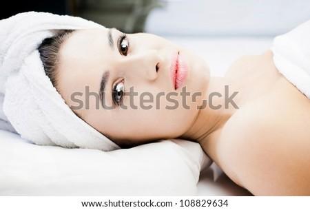 Gorgeous woman at spa - stock photo