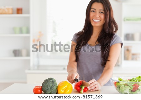 Gorgeous woman cooking vegetables while standing in the kitchen - stock photo