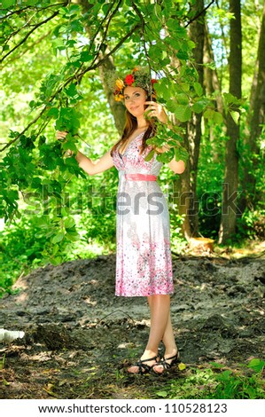 Gorgeous woman in tropical forest