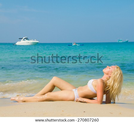 Gorgeous Woman On a Tropical Resort  - stock photo