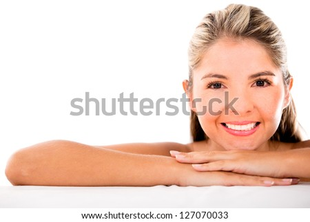 Gorgeous woman portrait looking happy - isolated over white
