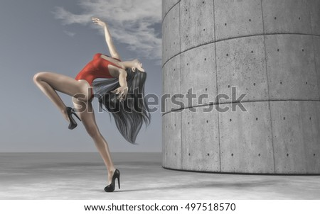 Gorgeous woman wearing red sportswear and dancing around pillar. This is a 3d render illustration