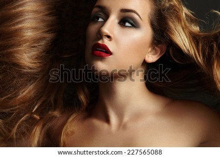 gorgeous woman with a beauty hair - stock photo