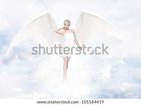 Gorgeous Young Blond Woman As Angel In Heaven With White Wings