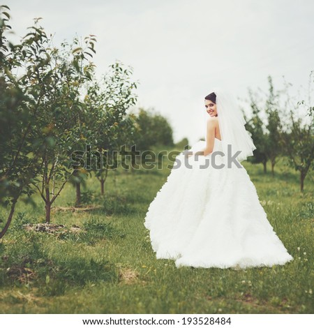 Gorgeous  young bride enjoying wedding day. Summertime newlywed. - stock photo