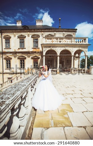gorgeous young brunette bride against to castle in west Ukraine - stock photo