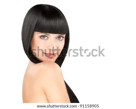 gorgeous young caucasian brunette posing, space for copy