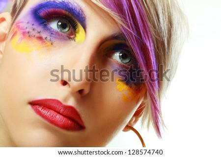 Gorgeous Young Grunge model beautiful women with perfect art make up and long false eyelashes - stock photo