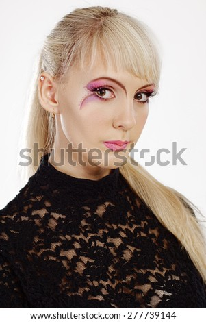 Gorgeous Young model beautiful women with perfect art make up - stock photo