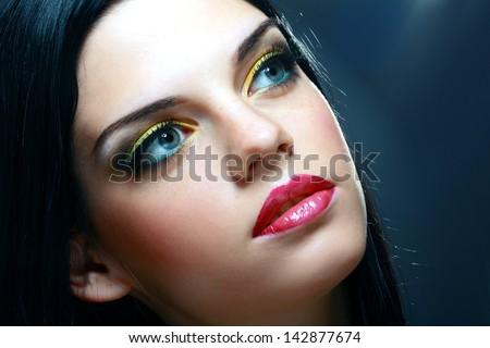 Gorgeous Young model beautiful women with perfect art make up and long false eyelashes - stock photo