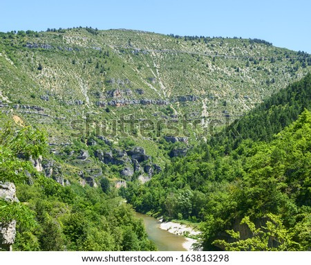 Gorges du Tarn (Lozere, Linguedoc-Roussillon, France), famous canyon at summer.