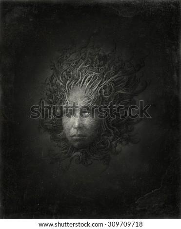 Gorgon head - stock photo
