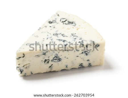 Gorgonzola or Bleu Cheese on White Background