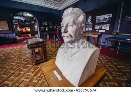 Gori, Georgia - April 23, 2015. Bust of Stalin in Museum of Joseph Stalin in his hometown - Gori - stock photo
