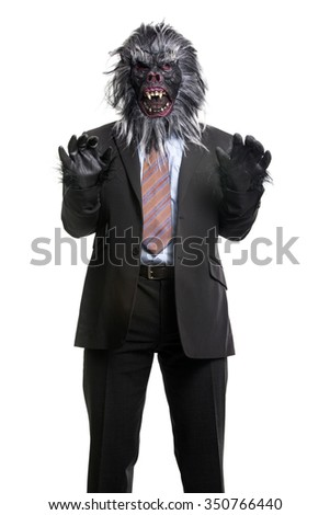 Gorilla In Business Suit expressing anger with hands up. Isolated On white background - stock photo