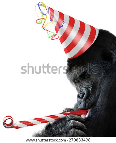 Gorilla party animal with a striped birthday hat and noisemaker horn - stock photo