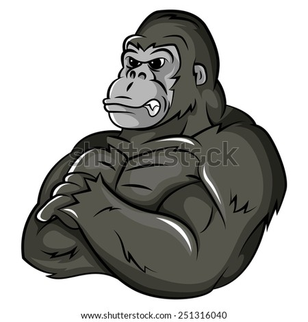Gorilla Strong Mascot - stock photo