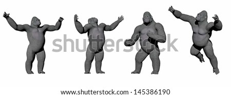 Gorillas up in four different positions in white background - stock photo