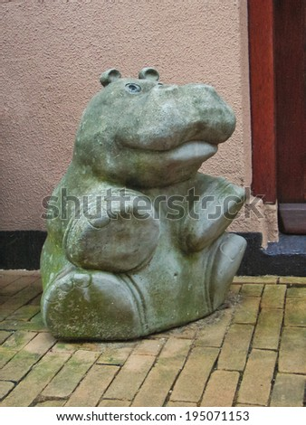 GORINCHEM, THE NETHERLANDS - FEBRUARY 16, 2012 : Sculpture hippo in the Dutch city of Gorinchem. Netherlands