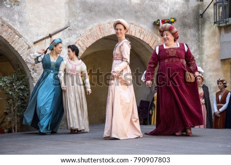 Gorizia, Italy - April 23, 2017: Historical reenactment in Gorizia Castle - Womans medieval historical dances in medieval clothes