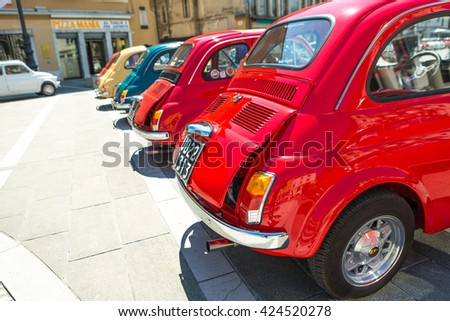 Gorizia,Italy MAY 22,2016:Photo of a Fiat 500 Club Isonzo meeting. The Fiat 500 (Italian:Cinquecento) is a city car which was produced by the Italian manufacturer Fiat between 1957 and 1975.