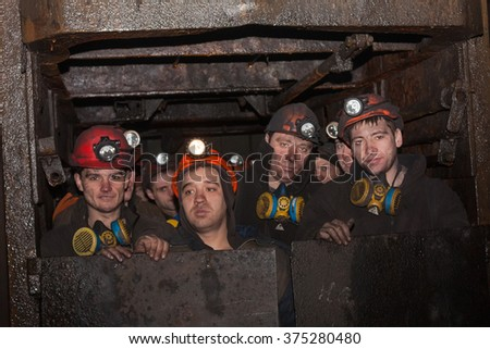 Gorlovka; Ukraine - February 26; 2014: The miners of the mine named after Kalinin fall into the workplace in underground mines - stock photo